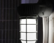 LED Vapor Proof Jelly Jar Light Fixture - Caged Wall Mount Light - 1,800 Lumens: Installed On Concrete Wall