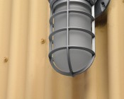 LED Vapor Proof Jelly Jar Light Fixture - Caged Wall Mount Light - 1,800 Lumens: Installed On Side Of Shed