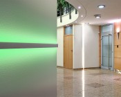 """2"""" Wide Up/Down Aluminum Profile Housing for LED Strip Lights: Installed on the Wall at Office Building"""