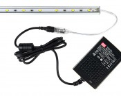 Wall-Mounted Desktop Power Supply - 12V DC GS Series: Shown Connected To LED Light Bar (Sold Separately).