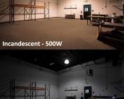 LED Corn Light - 390W Equivalent Incandescent Conversion - E26/E27 Base: Shown Retro Fitted In High Bay Fixture (Bottom) Compared To 500W Incandescent Equivalent