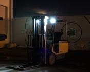 "2.5"" Square 12 Watt LED Mini Auxiliary Work Light installed on forklift"