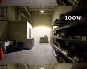 LED Canopy Lights - 100W - Natural White - Flush Mount or Surface Mount - Rectangular LED Beam Pattern - 10,000 Lumens: Shown Installed In Warehouse.