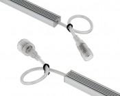 Waterproof Linear LED Light Bar Fixture w/ DC Barrel Connectors: Back View Of Ends