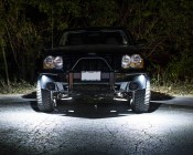 Waterproof Off Road LED Rock Light Kit - 8 LED Rock Lights: Shown Installed On Jeep And On In White.