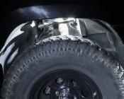 Waterproof Off Road LED Rock Light Kit - 8 LED Rock Lights: Shown Installed Over Front Wheel In White.