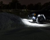 Waterproof Off Road LED Rock Light Kit - 8 LED Rock Lights: Shown Installed On Jeep In White.