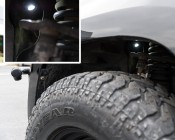 Waterproof Off Road LED Rock Light Replacement: Shown Mounted Using Flat Gasket In Wheel well.