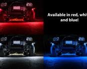 Waterproof Off Road LED Rock Light Kit - 8 LED Rock Lights: Shown Installed On Jeep In Red (Top Left), White (Bottom Left), Blue (Bottom Right).