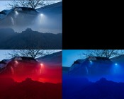 Waterproof Off Road LED Rock Light Kit - 8 LED Rock Lights: Shown Installed On Jeep In Red, White, And Blue.