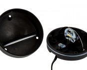 Weatherproof LED Eyelid Step/Deck Light - 3 Watt: Opened Showing Reflector Mirror Lens, Weatherproof Seal, LED Circuit Board, and Mounting Screw Holes