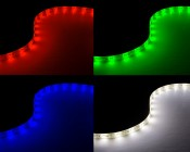 Outdoor LED Light Strips with White and Multicolor LEDs - Weatherproof LED Tape Light with 18 SMDs/ft. - 3 Chip RGBW LED 5050: Turned On Showing Red, Green, Blue, & Natural White