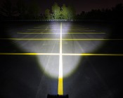 "6.5"" Rectangular 100W Super Duty High Powered LED Work Light: Showing Beam Pattern Aimed At Tree Line 200 Feet Away"