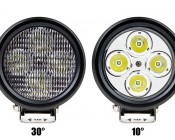 "4.7"" Round 40W Heavy Duty High Powered LED Work Light: Front View Of 30° & 10°"