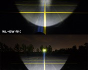 """7"""" Round 45W Heavy Duty High Powered LED Work Light - Comparison With A Competitor's Similar Product, Aimed At Tree Line 200 Feet Away"""