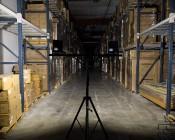 Portable LED Work Light Kit w/ Telescoping Tripod - 64W - 7,000 Lumens: Illuminating Warehouse