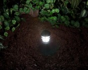 921 LED Bulb - 15 SMD LED Tower - Miniature Wedge Retrofit: Shown On In Cool White In Mini Bollard With Frosted Glass.