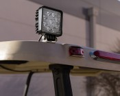 "LED Light Pod - 3.5"" Square LED Work Light - 22W - 1,600 Lumens - Installed Close Up on a Golf Cart"