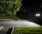 Temporary Job Site Light Kit w/ Telescoping Tripod - 64W - 7,000 Lumens: Illuminated Outside On Street Profile View