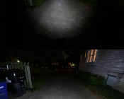 WORKBRITE 2 LED Work Light - NEBO Flashlight: On Showing Beam Patterns In Driveway.