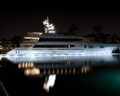 LED Underwater Lights for Boats and Docks - 180W: Shown Installed Around Yacht Hull In White.