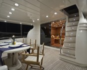 67 LED Bulb w/ Focusing Lens - 3 High Power LED - BA15S Retrofit: Shown Installed In Yacht Stairs In Cool White.