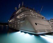 LED Underwater Lights for Boats and Docks - 60W: Shown On Yacht Stern In White.