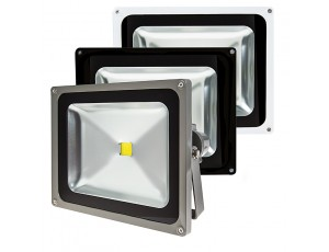 High Power 50W LED Flood Light Fixture: Available In Graphite, Black, & White Finsih