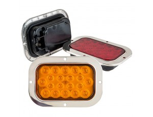 Rectangle LED Truck and Trailer Lights w BuiltIn Stainless Steel