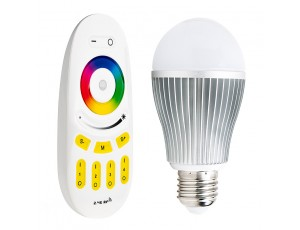 Smartphone or Tablet WiFi Compatible RGB+White LED Bulb, 9W w/ RF Remote
