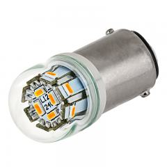 1142 LED Bulb w/ Stock Cover - 12 SMD LED - BA15D Bulb - 1142 Amber Globe