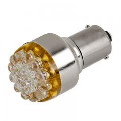 1156 LED Bulb - 19 LED Forward Firing Cluster - 6 VDC - Amber 100 Degree 6VDC