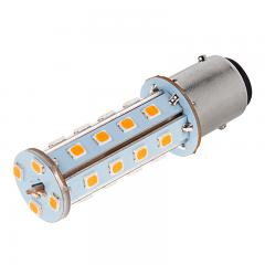 1157 LED Boat and RV Light Bulb - Dual Function 28 SMD LED Tower - BAY15D Retrofit - 675 Lumens - Amber