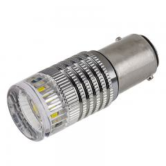 1157 LED Boat and RV Light Bulb w/ Reflector Lens - Dual Function 1 High Power LED - BAY15D Retrofit
