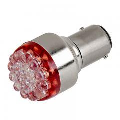 1157 LED Bulb - Dual Function 19 LED Forward Firing Cluster - BAY15D Bulb - Red 15 Degree 6VDC