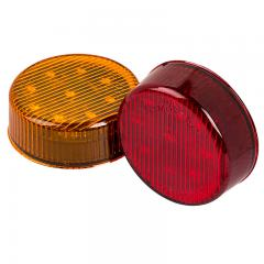 "Round LED Truck and Trailer Lights - 2"" LED Side Clearance Lights - Pigtail Connector - Flush Mount - 9 LEDs"