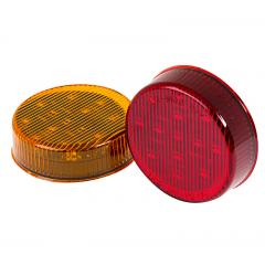 "Round LED Truck and Trailer Lights - 2-1/2"" LED Side Clearance Lights - 2-Pin Connector - Surface Mount - 13 LEDs"
