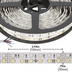 RGBW LED Strip Lights - Dual Row 24V LED Tape Light w/ White and Multicolor LEDs - 530 Lumens/ft.