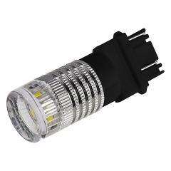 3157 LED Bulb w/ Reflector Lens - Dual Function 1 High Power LED - Wedge Base