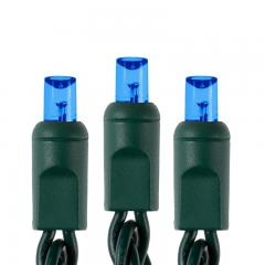 Wide Angle Blue LED Christmas String Lights - 25ft - 50 Mini 5mm Bulbs - Green Wire