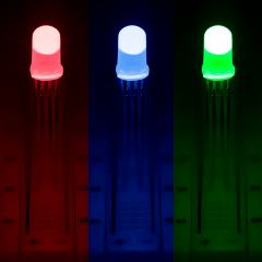 5mm Diffused Tri-Color Through Hole LED - RGB T1 3/4 LED w/ 60 Degree Viewing Angle