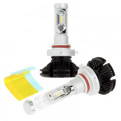 9005 LED Fanless Headlight Conversion Kit with Adjustable Color Temperature and Compact Heat Sinks - 5,000 Lumens/Set