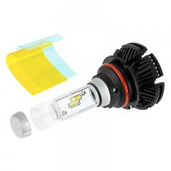 Motorcycle 9007 LED Fanless Headlight Conversion Kit with Adjustable Color Temperature and Compact Heat Sink - 2,500 Lumens