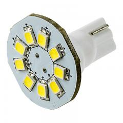 921 LED Boat and RV Light Bulb - 9 SMD LED Disc - Miniature Wedge Retrofit - 130 Lumens