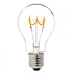 Spiral Filament LED Bulb - A19 Carbon Filament Style Bulb - Dimmable 10 Watt Equivalent - Spiral Horizontal Loop - 60 Lumens