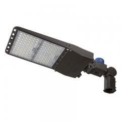 300W LED Parking Lot Light - LED Shoebox Area Light with Photocell - Knuckle Slipfitter Mount - 1000W Equivalent - 42000 Lumens