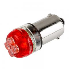 BA9s LED Landscape Light Bulb - 4 LED - BA9s Retrofit - Red 90 Degree 12V