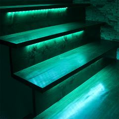 Outdoor Steps and Railing LED Lighting Kit - Weatherproof Multi-Strip Remote Activated RGB Color Changing Kit