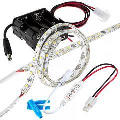 Battery Powered LED Light Strips Kit - Single Color - 2 Portable LED Light Strips - 246 Lumens