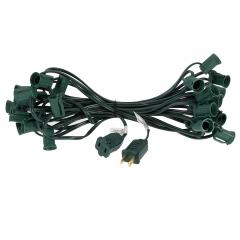 25' C7 Christmas Light Stringer - 25 Sockets - Green Wire - Green